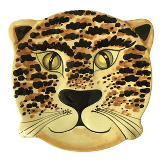 1960's Hand Painted Tiger Platter - Made in Italy For Sale