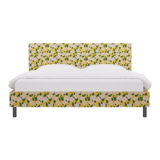 King Tailored Platform Bed in Yellow Belle Du Jour For Sale