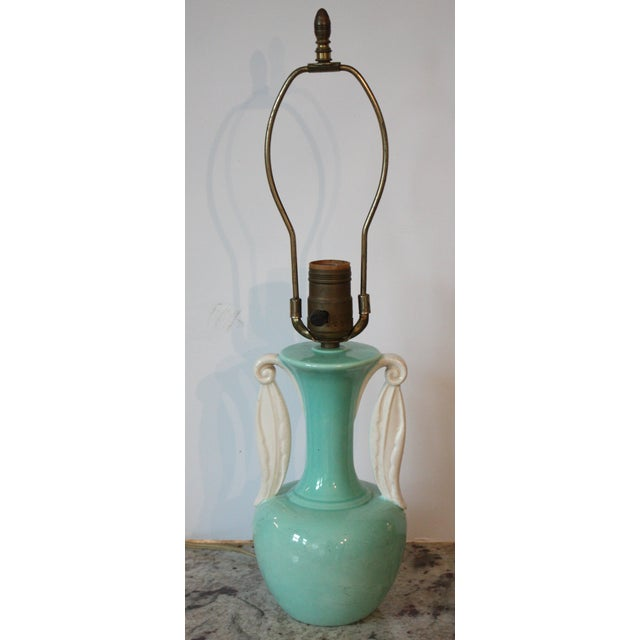 Mid-Century Turquoise Urn Lamp - Image 2 of 3