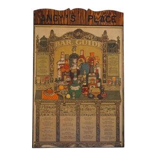 1960s Vintage Wooden Hanging Bar Sign For Sale