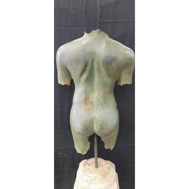 Antique 68 inch high Italian Bronze Life Size Torso W/Stone Base. This item can be removed into three pieces. The torso is...