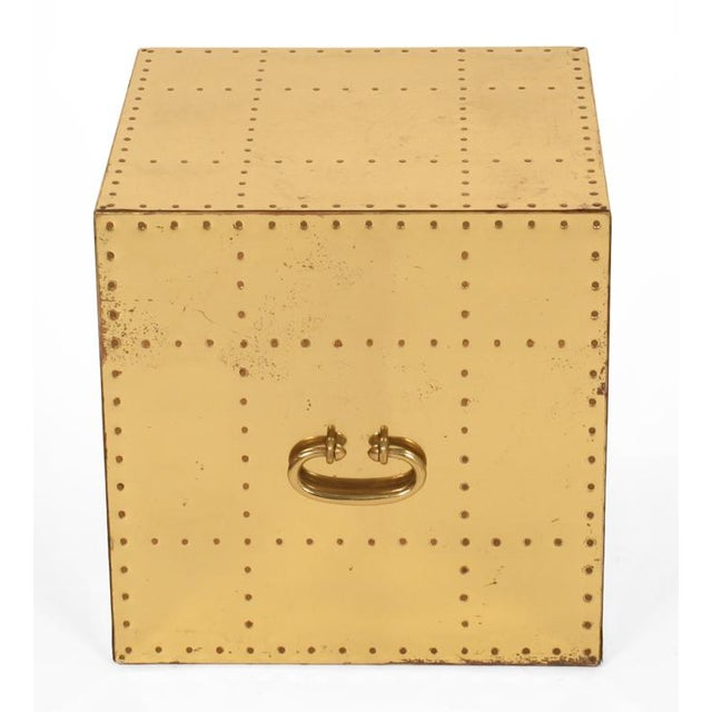 Hollywood Regency Sarreid, Ltd. Polished Brass Studded Cube Box Tables - a Pair For Sale - Image 3 of 7