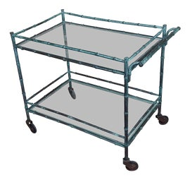 Image of Faux Bamboo Bar Carts and Dry Bars
