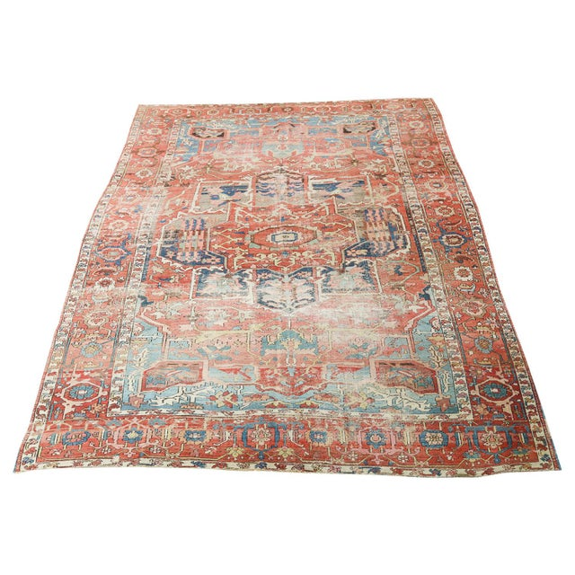 """Antique Distressed Serapi Persian Wool Rug - 12'6""""x8'8"""" For Sale - Image 4 of 4"""