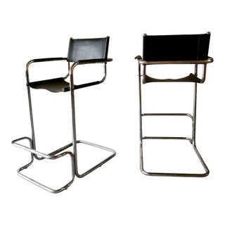 1970s Marcel Breuer Style Counter Stools - Set of 2 For Sale