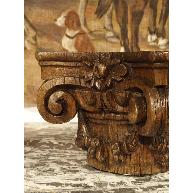 Small 18th Century French Oak Column Capital For Sale In Dallas - Image 6 of 8
