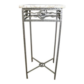French Art Deco Hand Hammered Iron Small Table / Pedestal For Sale