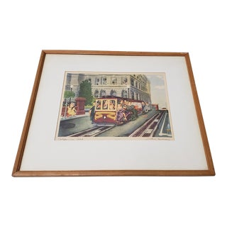 """Justin Murray (1912-1987) """"California Cable"""" Color Lithograph C.1944 For Sale"""