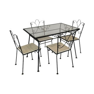 Wrought Iron Vintage 1950's Glass Top Table & Chairs Dining Set - Set of 5 For Sale