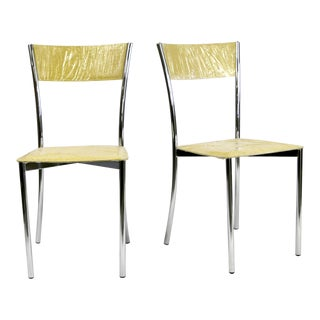 Kehl Brazilian Modern Fluted Chrome Tube Frame Side Chairs in Yellow Alligator Leather - A Pair