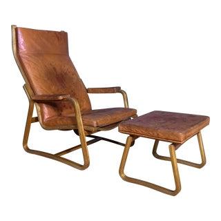 1960s Adrian & Ditte Heath Highback Lounge Chair & Ottoman For Sale