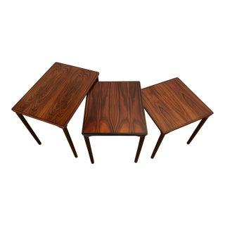 Danish Modern Rosewood Nesting Tables by Mobelfabrikken Toften, Set of 3 For Sale