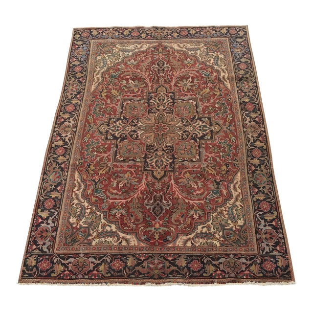 """Thick & Hearty Vintage Persian Ahar Area Rug - 7'3"""" x 10'5"""" - Image 1 of 11"""