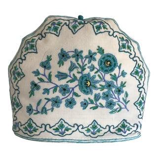 Vintage Embroidered Floral Tea Cozie For Sale