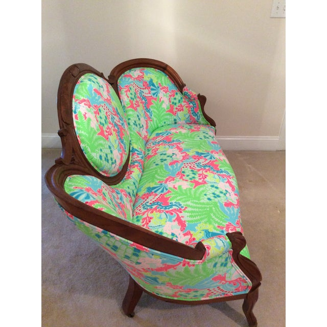 Lilly Pulitzer Refurbished Antique Settee/Sofa - Image 7 of 7