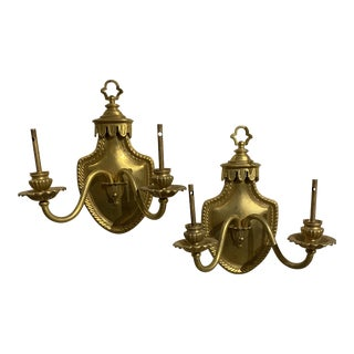 1900s Gilt Bronze Sconces Shielded Back Plate - a Pair For Sale