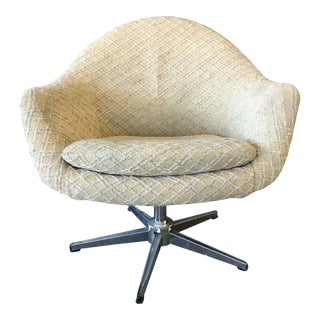 Mid-Century Danish Modern Overman Chrome Swivel Pod Chair For Sale