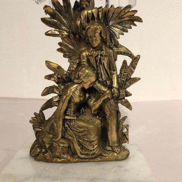 Antique Brass Crystal Prism Girandole Candelabra - Set of 3 For Sale - Image 9 of 13
