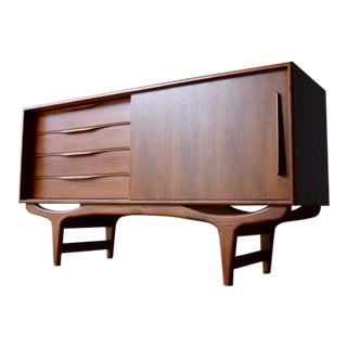 Apartment Sized Mid Century Modern Styled Teak Credenza Media Stand For Sale