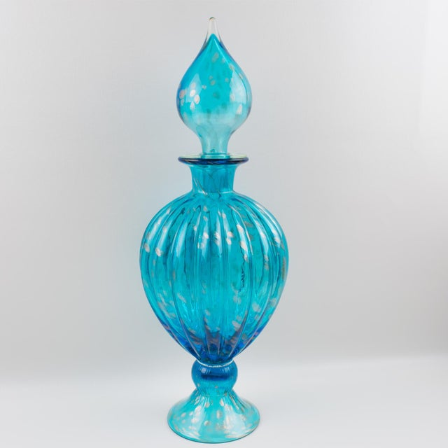 Italian Empoli Hand Blown Turquoise Glass Lidded Apothecary Jar Dispenser For Sale - Image 4 of 13