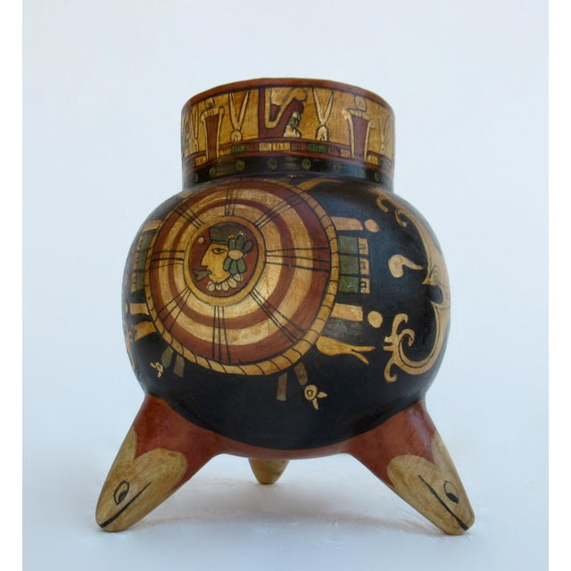 Vintage: 1935s-50s, Mexican terra-cotta, bulbous-shaped, polychrome calabash olla, tripod or 3-legged, vessel, center...