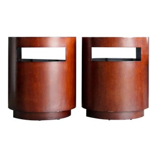 Crate & Barrel Cylindrical Side Tables / Night Stands, a Pair For Sale