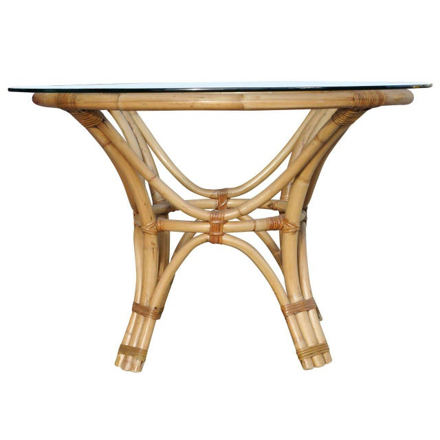 Restored Rattan Bentwood Dining Table with Round Glass Top - Image 5 of 7