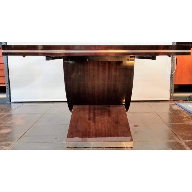 Late 20th Century 20th Century Italian High Gloss Walnut and Chrome Extendable Dining Table For Sale - Image 5 of 9