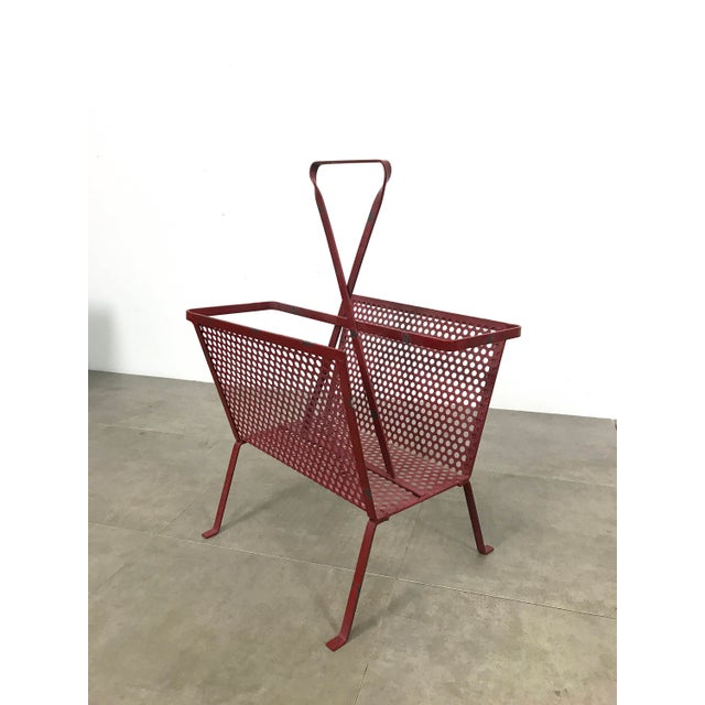 1950's Mathieu Mategot Attributed Red Metal Magazine Holder For Sale - Image 4 of 12