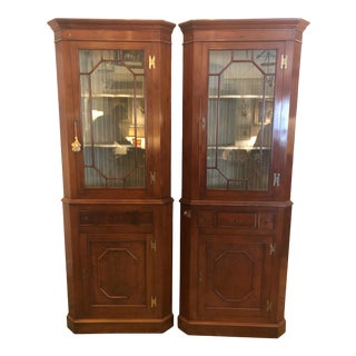 19th Century Chippendale Style Mahogany and Glass Doored Corner Cabinets- a Pair For Sale