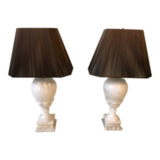 Alabaster Table Lamps - a Pair For Sale