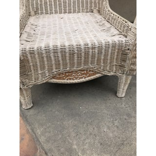 Late 20th Century Victorian Style White Wicker Lounge Chair Preview