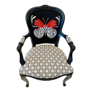 """88 Butterfly"" Embroidered Reproduction French Chair For Sale"