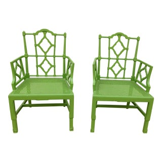 Vintage 1970s Chippendale Green Arm Chairs - a Pair For Sale