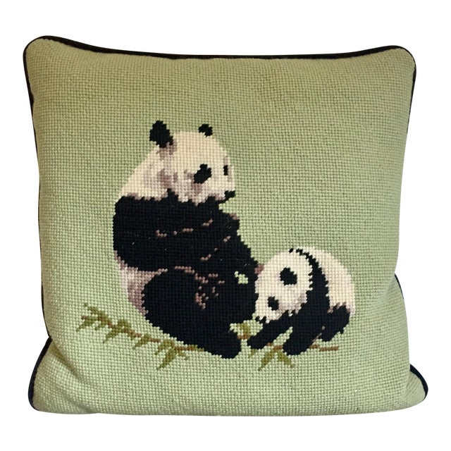 Needlepoint Panda Pillow For Sale