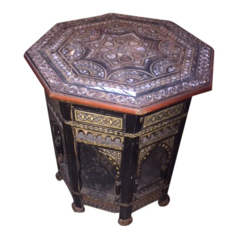 Vintage Moroccan Octagon Mother of Pearl Inlay Table For Sale