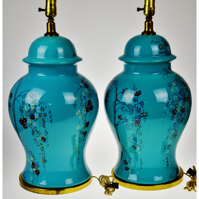 Vintage Large Scale Aquamarine Blue Hand Painted Asian Ginger Jar Lamps - A Pair For Sale In Philadelphia - Image 6 of 11