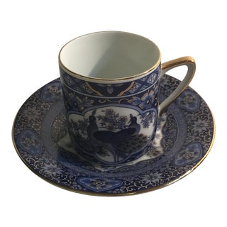 Vintage Japanese Blue and White Peacock Motif Demitasse Cup and Saucer For Sale
