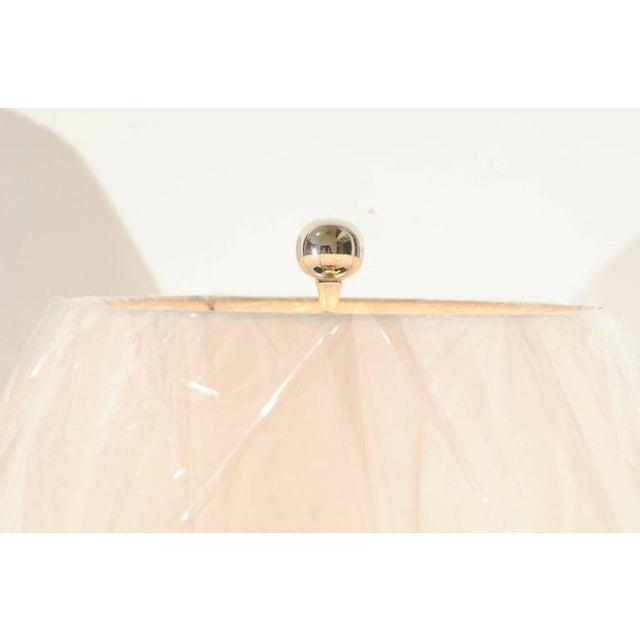 Vibrant Pair of Modern Tangerine Ceramic Lamps For Sale - Image 10 of 11