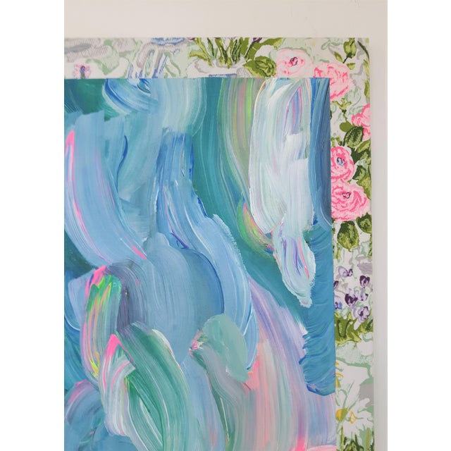 """Frances Sousa """"Get Ready for the Flood"""" Contemporary Abstract Floral Acrylic Painting on Vintage Textile For Sale - Image 9 of 11"""