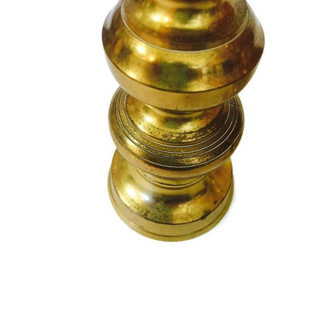 Mid-Century Brass Stacked Pagoda Candlesticks - A Pair For Sale - Image 5 of 6