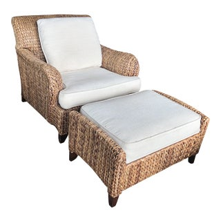 Palecek Lounge Chair and Ottoman - a Pair For Sale