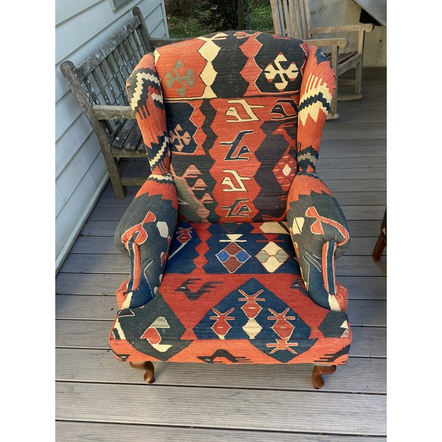 Kilim Wingback Chairs - a Pair For Sale - Image 4 of 13