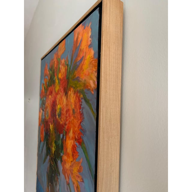 """Realism """"Orange Dahlias"""" Oil Painting For Sale - Image 3 of 8"""