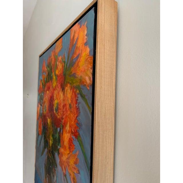 "Impressionist ""Orange Dahlias"" Oil Painting For Sale - Image 3 of 8"