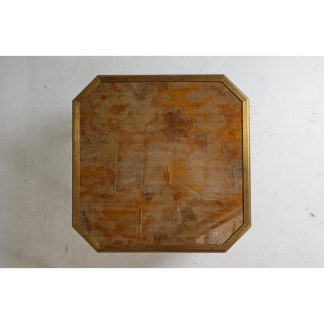 1970 Willie Rizzo Style Marbled Glass & Brass Coffee Table For Sale - Image 5 of 7