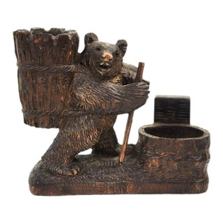 Swiss Black Forest Style Bear Decor Bowl For Sale