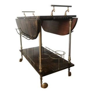 1950s Aldo Tura Goatskin and Brass Drop Leaf Bar Cart For Sale