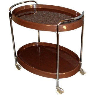 Swedish Mid-Century Modern Bar / Serving Cart For Sale