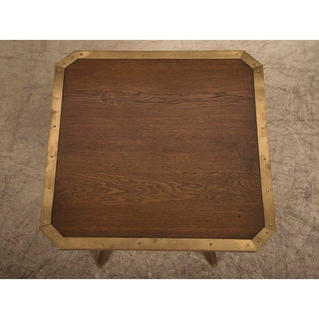 Antique French Octagonal Oak Table with Brass Accents circa 1900 For Sale - Image 4 of 6
